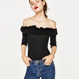 Zara Bodysuit with Frilled Neckline